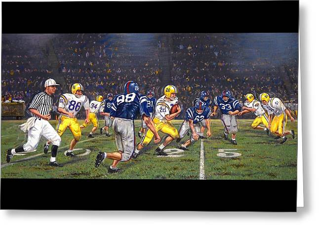 Billy Cannon's Halloween Heisman Haul Greeting Card by Mike Roberts