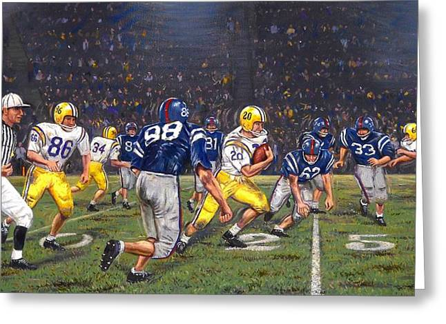 Pellegrin Greeting Cards - Billy Cannons Halloween Heisman Haul Greeting Card by Mike Roberts