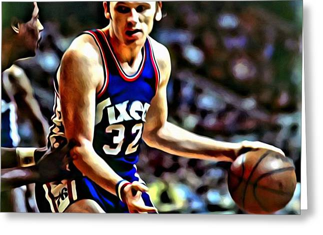 Slamdunk Greeting Cards - Billy Cunningham Greeting Card by Florian Rodarte