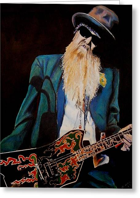 Rocks Drawings Greeting Cards - Billy Gibbons Greeting Card by Chris Benice