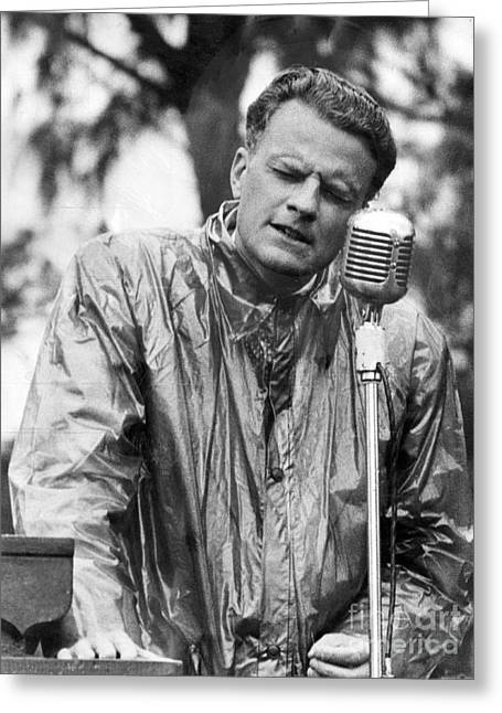 Billy Graham Jr. Speaking In Boston 1950 Greeting Card by The Phillip Harrington Collection