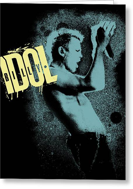 80s Greeting Cards - Billy Idol - Graffiti Art Greeting Card by Epic Rights