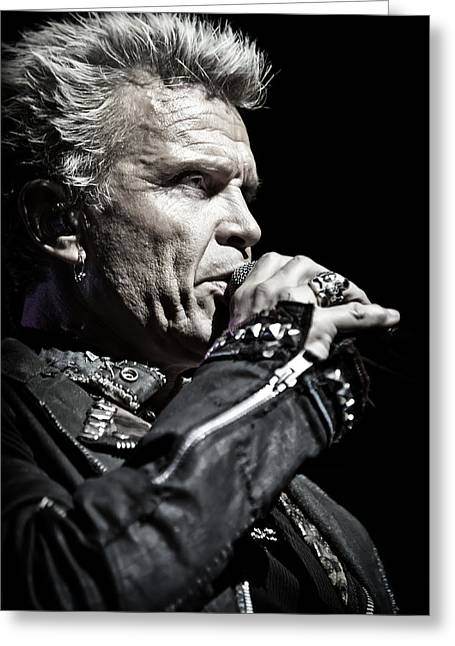 British Celebrities Photographs Greeting Cards - Billy Idol live in concert 3  Greeting Card by The  Vault - Jennifer Rondinelli Reilly