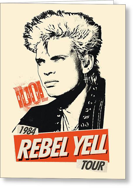 British Invasion Greeting Cards - Billy Idol - Rebel Yell Tour 1984 Greeting Card by Epic Rights