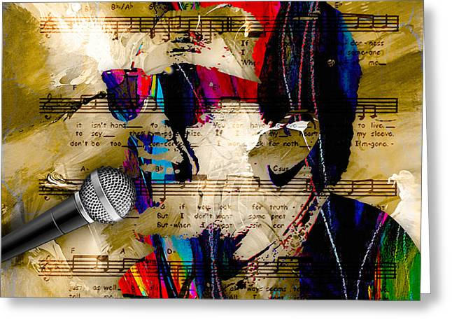 Singer Greeting Cards - Billy Joel Collection Greeting Card by Marvin Blaine