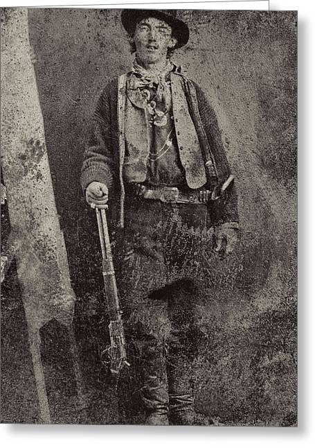 Gunslingers Greeting Cards - BILLY the KID c. 1879 Greeting Card by Daniel Hagerman