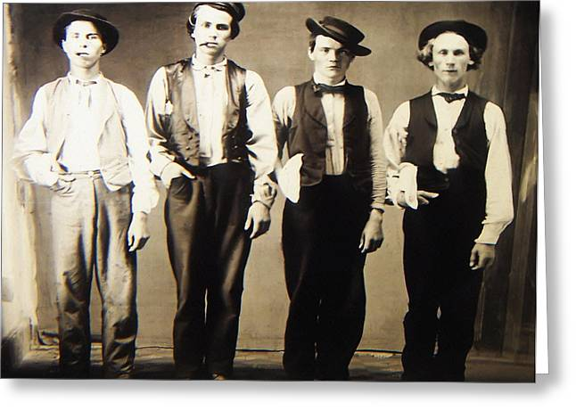 Billy The Kid Greeting Cards - Billy the Kid Doc Holliday Jesse James and Charlie Bowdre Greeting Card by Unknown