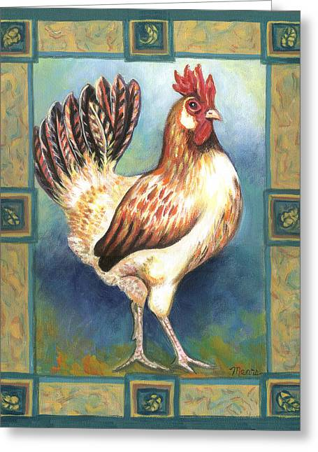 Roosters Greeting Cards - Billy the Rooster Greeting Card by Linda Mears