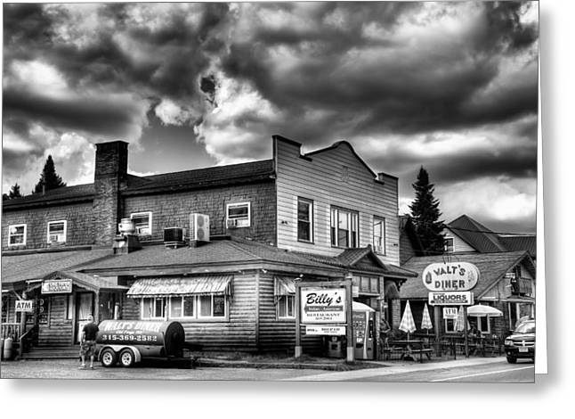 Old And New Greeting Cards - Billys Restaurant and Walts Diner - Old Forge New York Greeting Card by David Patterson