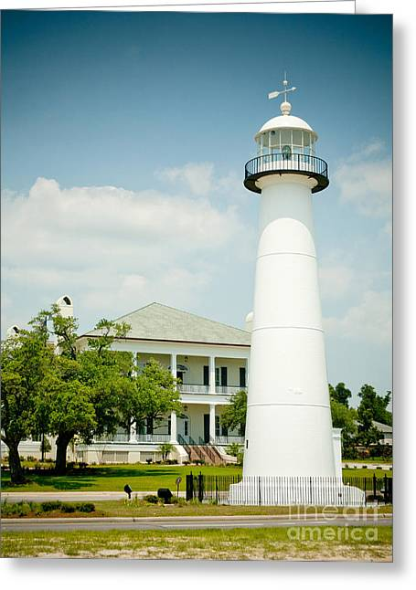 Biloxi Greeting Cards - Biloxi Lighthouse and Visitors Center Greeting Card by Joan McCool