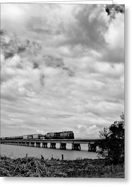 Caboose Pyrography Greeting Cards - Biloxi Train Greeting Card by Jason Mullins