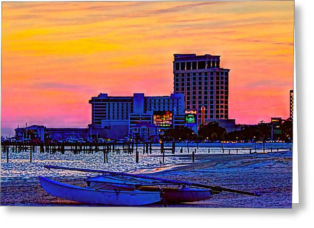 Casino Pier Digital Art Greeting Cards - Coastal - Beach - Biloxi Twilight Greeting Card by Barry Jones