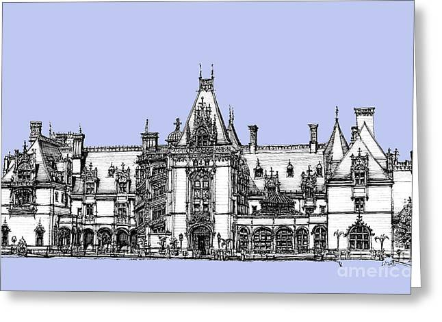 Detailed Ink Drawing Drawings Greeting Cards - Biltmore Estate in light blue Greeting Card by Lee-Ann Adendorff