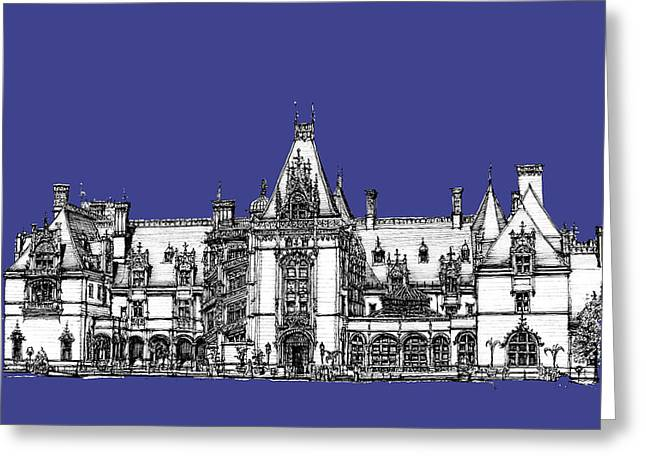 Royal Blue Greeting Cards - Biltmore Estate in royal blue Greeting Card by Building  Art