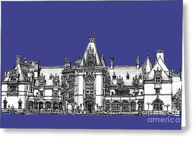 Chateau Drawings Greeting Cards - Biltmore Estate in royal blue Greeting Card by Lee-Ann Adendorff