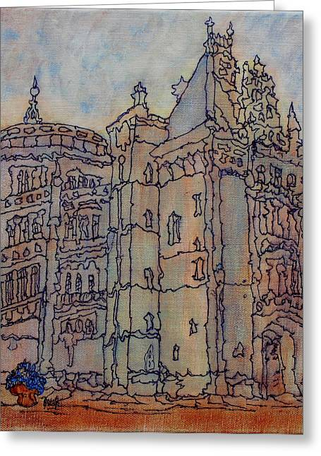 Prague Paintings Greeting Cards - Biltmore Estate  Greeting Card by Oscar Penalber