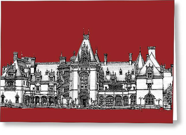 Ink Drawing Greeting Cards - Biltmore Estate red Greeting Card by Building  Art