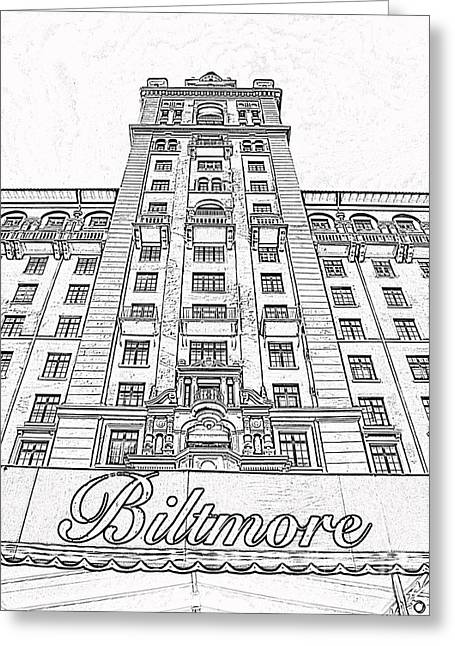 Photocopy Greeting Cards - Biltmore Hotel Miami Coral Gables Florida Exterior Awning and Tower Black and White Digital Art Greeting Card by Shawn O