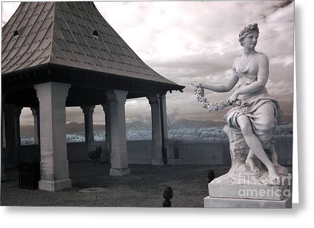 Biltmore Italian Garden Gazebo - Biltmore House Statues Architecture Garden Greeting Card by Kathy Fornal