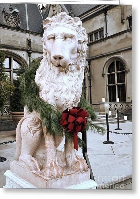 Biltmore Greeting Cards - Biltmore Mansion Estate Lion - Biltmore Mansion Mascot - Biltmore Lion Christmas Wreath Greeting Card by Kathy Fornal