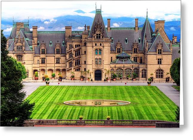 Nc Estate Greeting Cards - Biltmore Reflection in the Fountain Greeting Card by Carol R Montoya