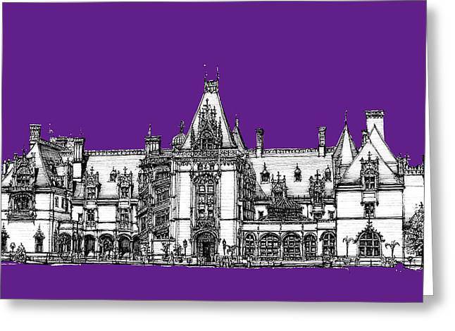 Ink Drawing Greeting Cards - Biltmore stately home in purple Greeting Card by Building  Art