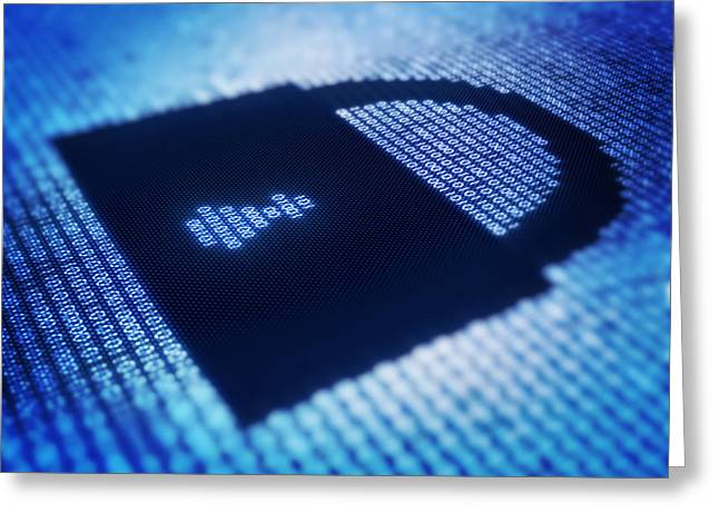 Binary code and lock shape on pixellated screen Greeting Card by Johan Swanepoel