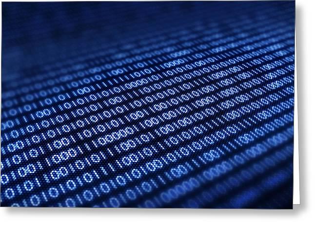 Binary code on pixellated screen Greeting Card by Johan Swanepoel