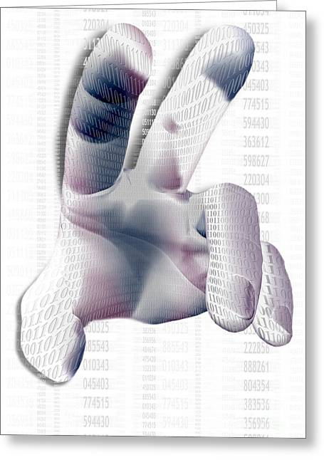 Binary Greeting Cards - Binary Numbers And Hand Greeting Card by Mike Agliolo