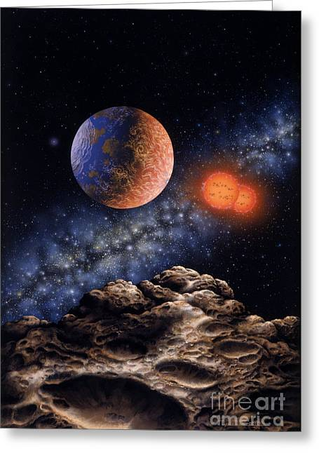Planetary System Paintings Greeting Cards - Binary Red Dwarf Star System Greeting Card by Lynette Cook