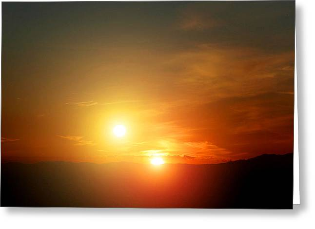 Science Greeting Cards - Binary Star Alien Sunset NASA Art Greeting Card by Tigerlynx Art