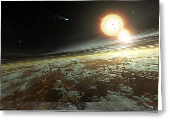 Helium Greeting Cards - Binary star system, artwork Greeting Card by Science Photo Library