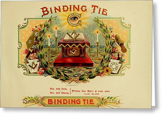 Cigar Drawings Greeting Cards - Binding Tie Vintage Cigar Advertisement Greeting Card by Movie Poster Prints