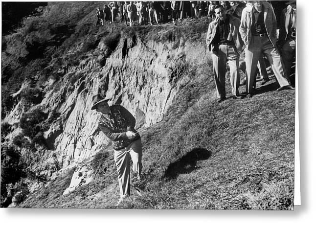 Beaches In Monterey Greeting Cards - Bing Crosby playing in the rough at Pebble Beach circa 1958 Greeting Card by California Views Mr Pat Hathaway Archives