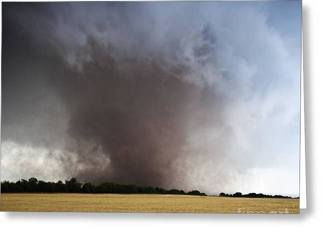 Wheat Field Sky Pictures Greeting Cards - Binger to Guthrie EF-5 Tornado  Greeting Card by Jeremy Holmes