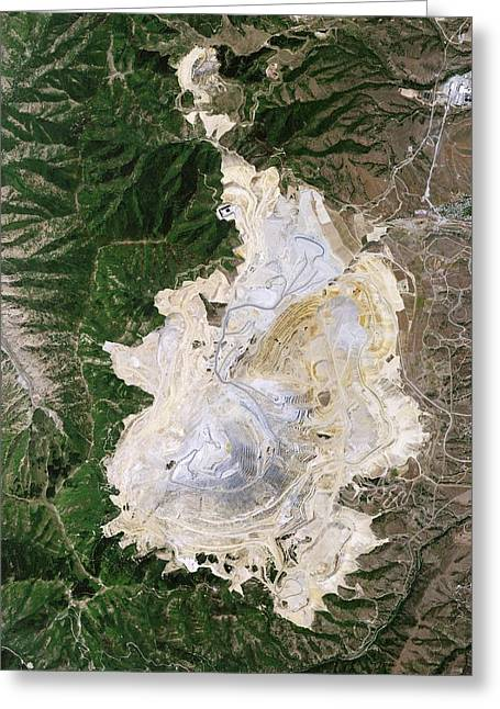 Bingham Canyon Mine Landslide Greeting Card by Nasa Earth Observatory/jesse Allen And Robert Simmon/eo-1 Team/national Agricultural Imagery Program