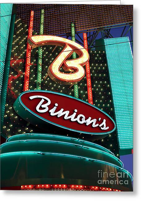 Freemont Street Greeting Cards - Binions Greeting Card by John Rizzuto