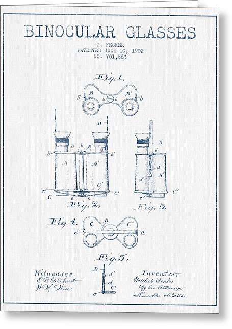 Glass Wall Greeting Cards - Binocular Glasses Patent Drawing from 1902 - Blue Ink Greeting Card by Aged Pixel