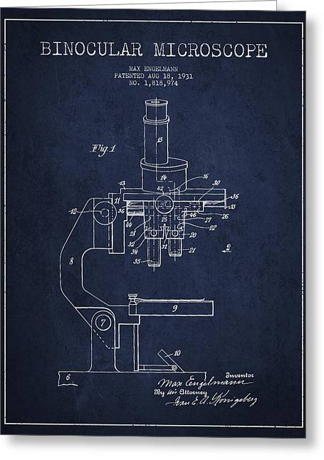 Device Greeting Cards - Binocular Microscope Patent Drawing from 1931 - Navy Blue Greeting Card by Aged Pixel