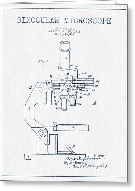Biology Greeting Cards - Binocular Microscope Patent Drawing from 1931 - Blue Ink Greeting Card by Aged Pixel