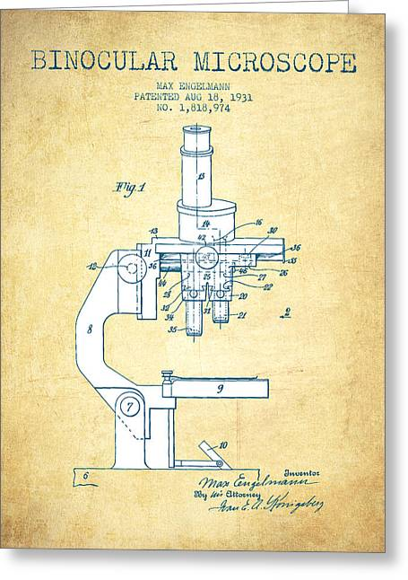 Biology Greeting Cards - Binocular Microscope Patent Drawing from 1931 - Vintage Paper Greeting Card by Aged Pixel