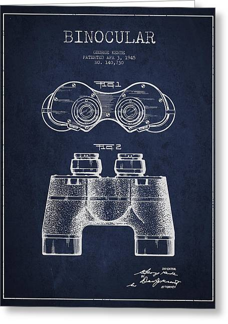 Glass Wall Greeting Cards - Binocular Patent Drawing from 1945 Greeting Card by Aged Pixel