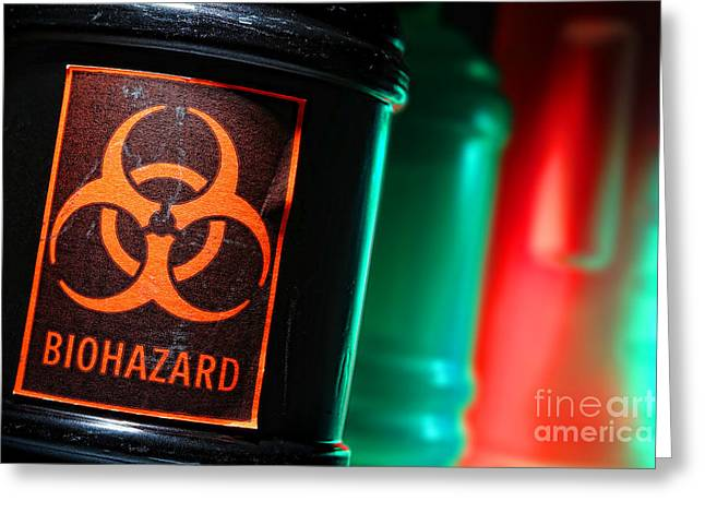 Toxic Waste Greeting Cards - Biohazard Greeting Card by Olivier Le Queinec