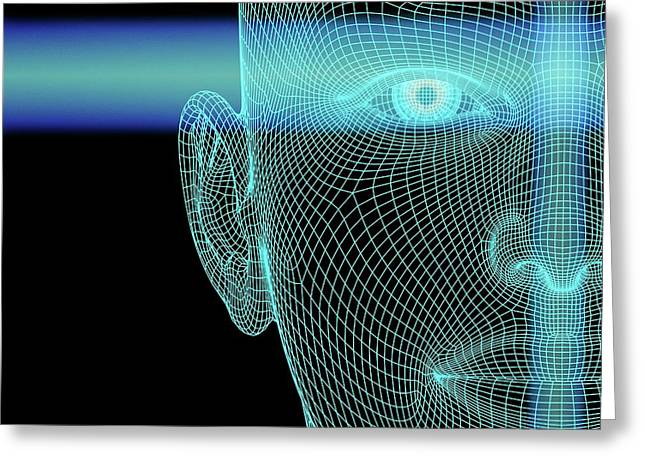 Biometric Polygon Head With Scanlines Greeting Card by Alfred Pasieka
