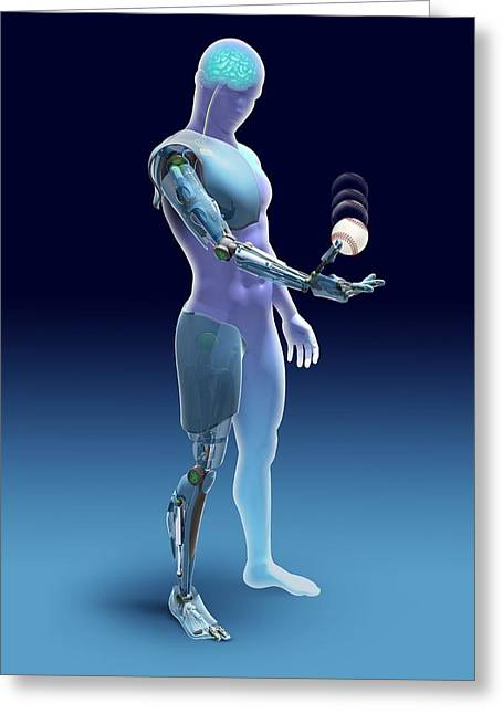 Robotic Greeting Cards - Bionic limbs, artwork Greeting Card by Science Photo Library