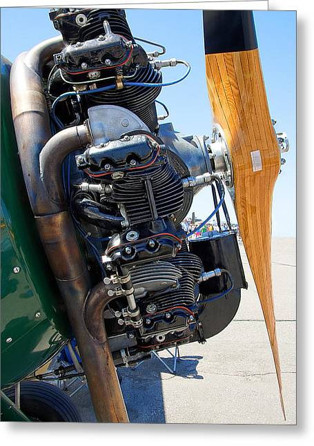 Aircraft Engine Greeting Cards - BIPLANE EXHAUST ENGINE and PROPELLER Greeting Card by Daniel Hagerman