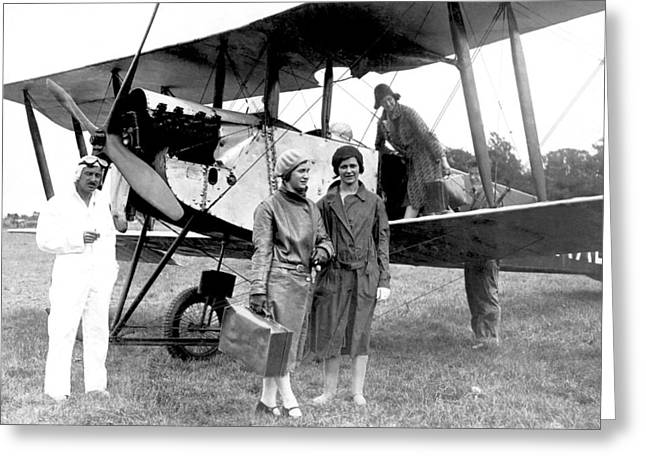 Satisfaction Greeting Cards - Biplane Passenger Service Greeting Card by Underwood Archives