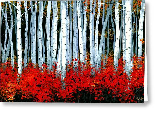 Birch Trees Greeting Cards - Birch 24 x 48 - SOLD Greeting Card by Michael Swanson
