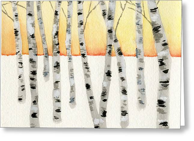 Birch At Sunrise Greeting Card by Jamie Seul