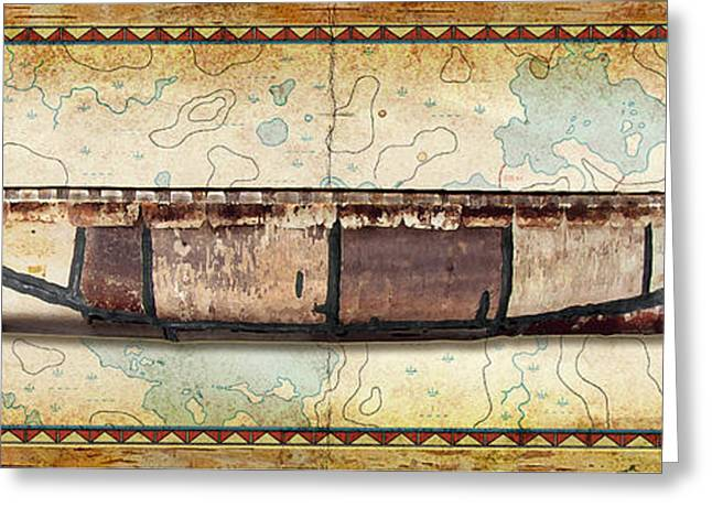 Boundary Waters Paintings Greeting Cards - Birch Bark Canoe and Map Greeting Card by JQ Licensing